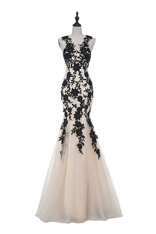 Champagne Sleeveless Mermaid Appliques Evening dresss