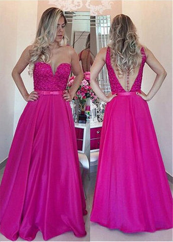 Stunning Tulle & Taffeta Jewel Neckline A-line Evening Dresses With Beadings