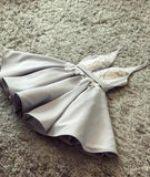 Sexy Gray v Neck Lace Applique Short Prom Homecoming Dress