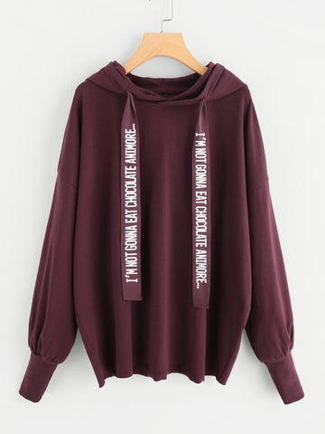 Burgundy Hipop Drop Shoulder Letter Drawstring Hoodie