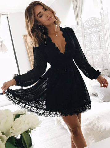 Long Sleeves Little Black Lace Homecoming Dress