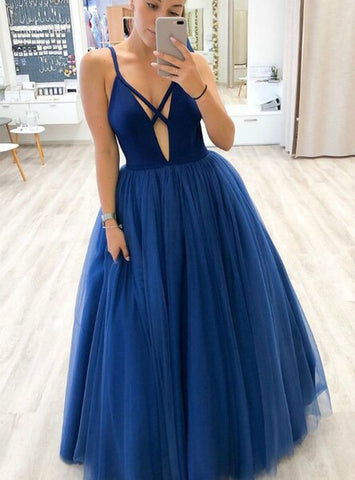 Tulle Sleeveless Sexy Deep V-neck A-Line Blue Prom Dress