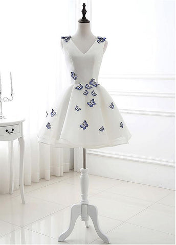 Real Photo Tulle V-neck Neckline Short Length A-line Homecoming dresses With Embroidery Butterfly