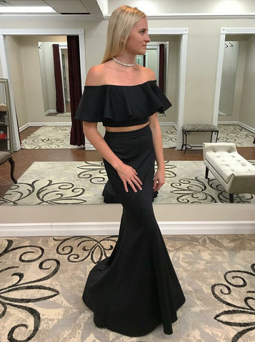 Two Piece Mermaid Ruffles Black Prom Dress