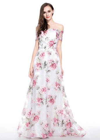 Delicate Organza Allover Off-the-shoulder Neckline Floral A-line Prom Dress