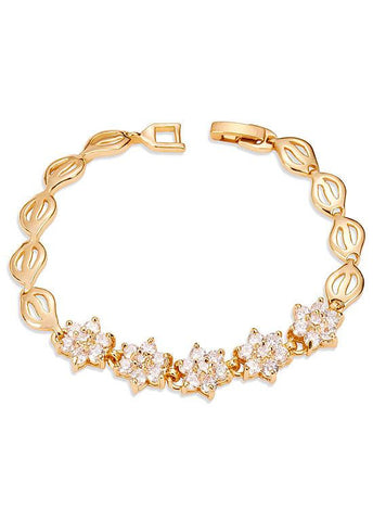 18K Gold Plated Bracelet, Micro Pave AAA Zircon Snowflake, Golden, 175mm