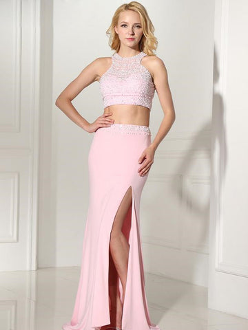 Spandex Slit Two Piece Pink Prom Dress