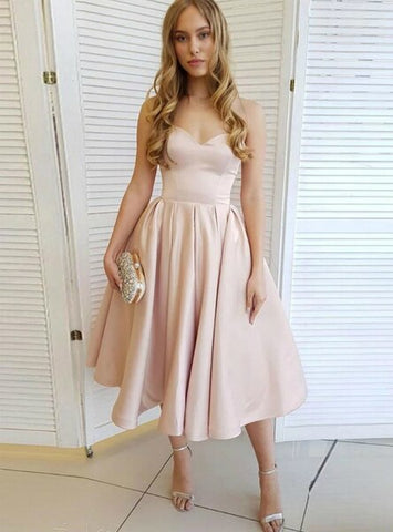 Pleats A-Line Champagne Tea Length Satin Sweetheart Prom Dress