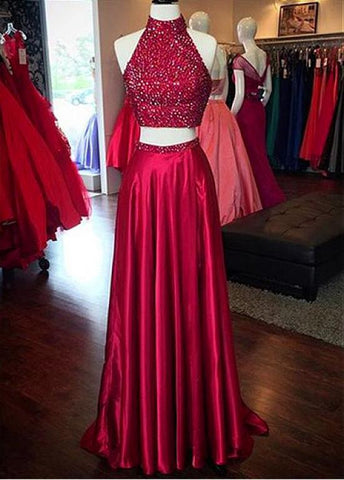 Alluring Stretch Satin High Collar Neckline Two Piece A-line Prom Dresses With Beadings