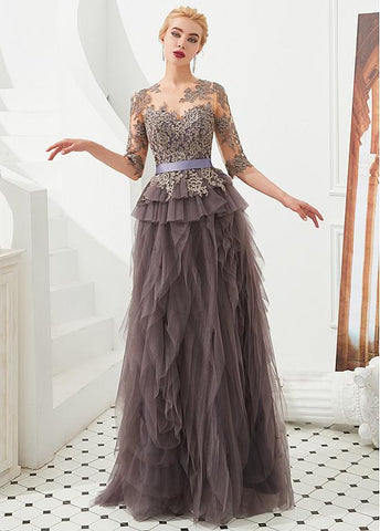Half Sleeves A-line Lace Appliques Jewel Gray Evening Dress