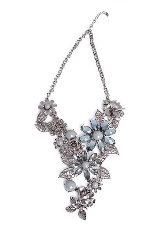 Clip and Flowers Embellishment Necklace