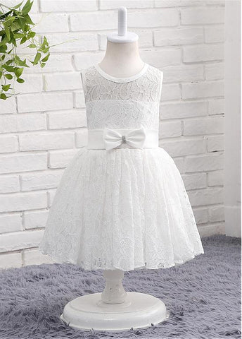 Alluring Lace Scoop Neckline Sleeveless A-line Flower Girl Dresses With Sash & Bowknot
