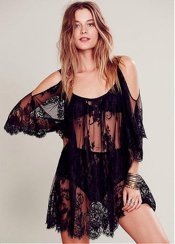 Romantic Polyester Beach Cover-Ups With Lace