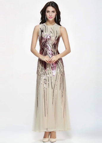 Gold Elegant Jewel Neckline A-line Evening Dress
