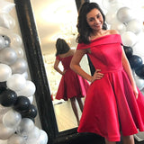 Red Off The Shoulder Satin Homecoming Dress