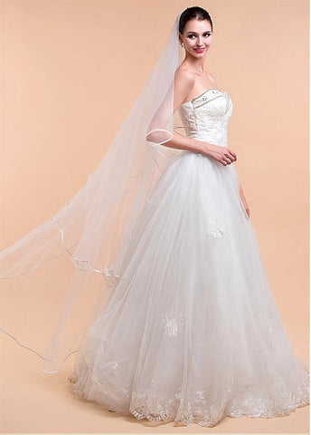Attractive Tulle Ivory Wedding Veil With Ribbon Edge