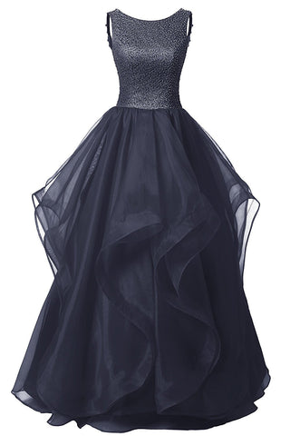 Long Prom Dress Asymmetric Ball Gown Evening Gown Beads Organza Gown