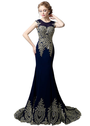 Glamorous Chiffon Jewel Neckline Mermaid Evening Dresses With Lace Appliques