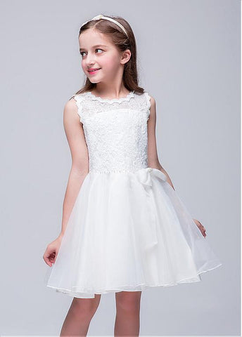In Stock Attractive Organza & Lace Jewel Neckline A-line Flower Girl Dresses With Bowknot