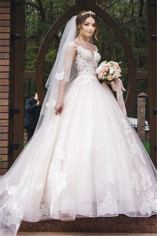 V-Neck Appliques Sleeveless Tulle A Line Lace Wedding Dress