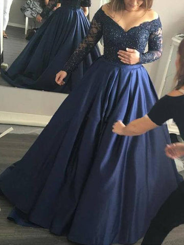 Navy Long Sleeves Beading Satin Prom Dress