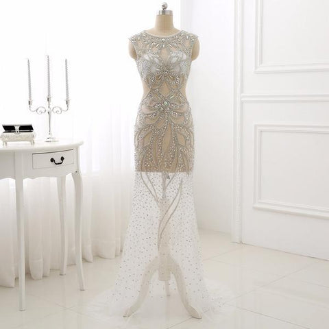 White Cut Out Mesh Illusion Crystal Prom Evening Dress