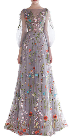 Floral Embroidery Long Sleeves Prom Dress