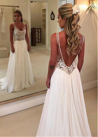 Tulle & Chiffon V-neck Backless A-line Wedding Dress