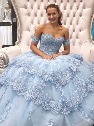 Ball Gown Sweetheart Appliques and Beading Blue Tulle Quinceanera Dress