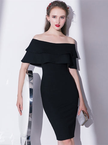 Black Sheath Off-the-Shoulder Pick-Ups Homecoming Dress