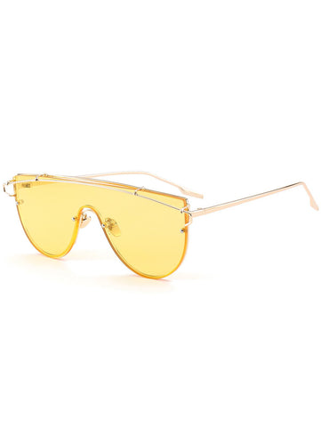 Metallic Long Crossbar Shield Sunglasses