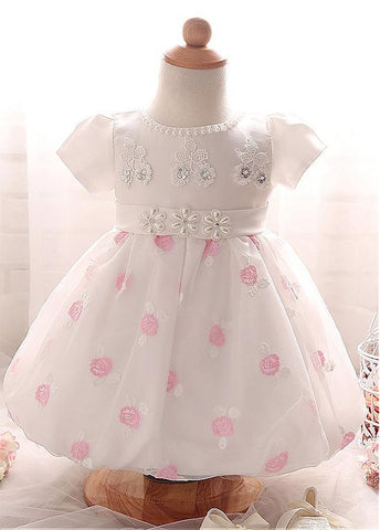 Fashionable Satin & Organza Jewel Neckline Ball Gown Flower Girl Dresses With Lace Appliques