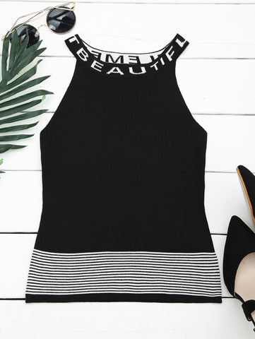 Letter Graphic Striped Knitted Tank Top
