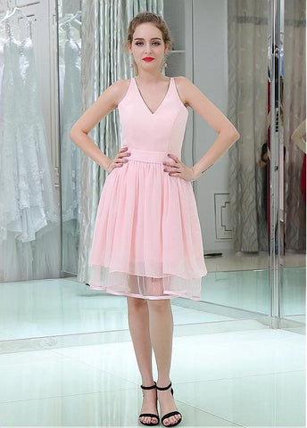 Pretty Chiffon & Lace V-neck Neckline Knee-length A-line Homecoming Dresses With Belt