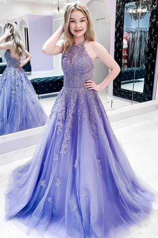 Beading Appliques Purple Halter Tulle Sweep Train Prom Dress