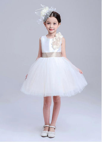 Fabulous Satin & Tulle Jewel Neckline Ball Gown Flower Girl Dresses With Handmade Flowers