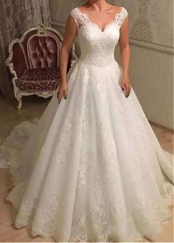 Tulle Lace Appliques V-neck Beading A-line Wedding Dress