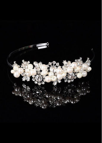 Romantic Alloy Wedding Tiara With Pearls