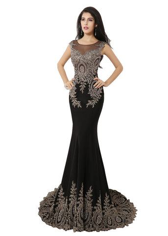 Marvelous Jersey Scoop Neckline Mermaid Evening Dresses With Lace Appliques & Rhinestones