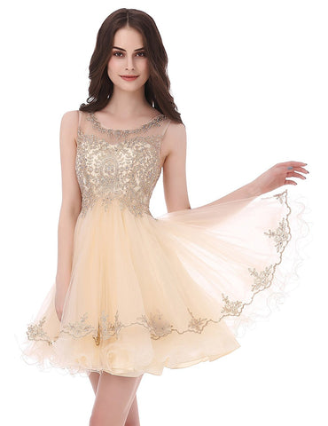 Champagne Short Tulle Beading Homecoming Dress Prom Gown