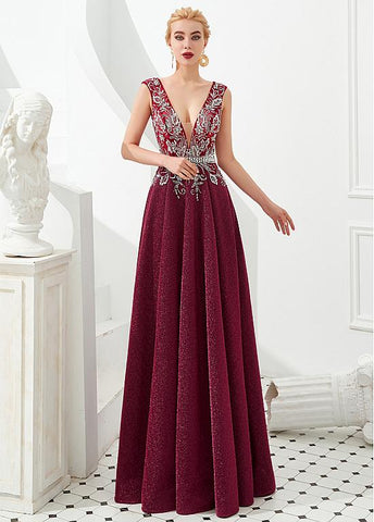 Burgundy Beautiful Tulle V-neck A-line Formal & Evening Dress