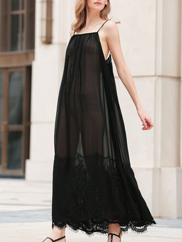 Lace Splice Cami See-Through Maxi Dress