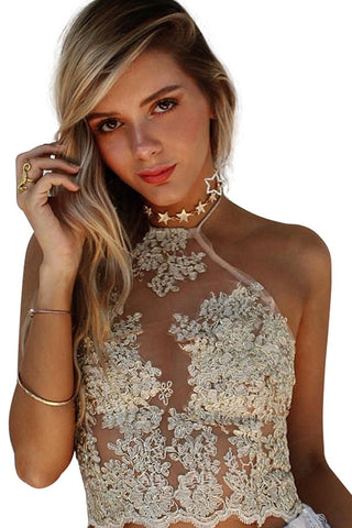 Women's Halter Neck Tank Crop Top Sleeveless Lace Vest Bustier