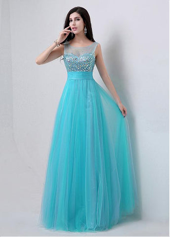 Blue Fabulous Tulle Scoop Neckline A-line Prom Dresses With Beadings