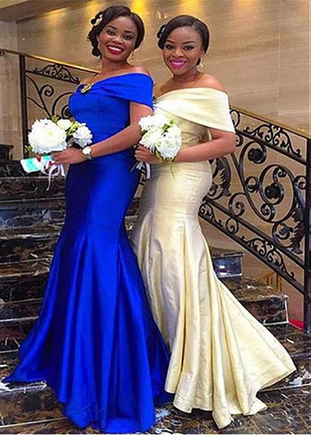Attractive Satin Off-the-shoulder Neckline Mermaid Bridesmaid Dresses With Rhinestones