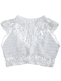 White Crochet Cropped Cover Up Top