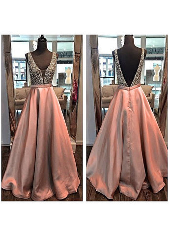 Gorgeous Tulle & Satin V-Neck Formal Dresses With Beads
