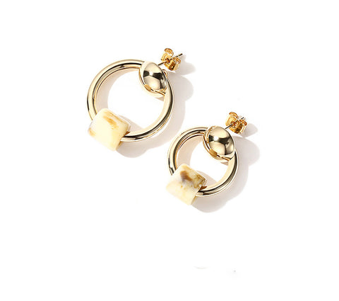 Asymmetrical Simple Earring Temperament Korean Rose Gold Plated