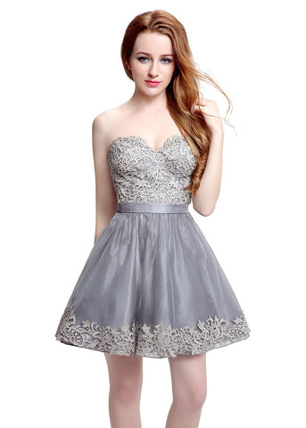 Marvelous Tulle & Organza Sweetheart Neckline Short-length A-line Homecoming Dresses With Pocket