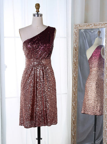 Ombre Sequined Sheath One Shoulder Short Homecoming Dress